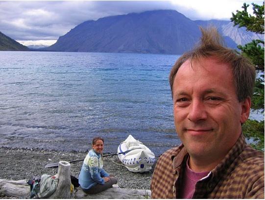 The McCannas prepare to explore Kathleen Lake by inflatable Sea Eagle kayak