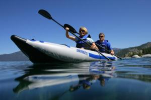 Out for a day on the water in their Sea Eagle FastTrack Kayak