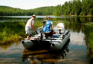 Tom Mannion and son, Patrick, prepare for some dad-and-son time as they fish for bass on one of New Hampshire's pristine pond in their Sea Eagle FoldCat 440.