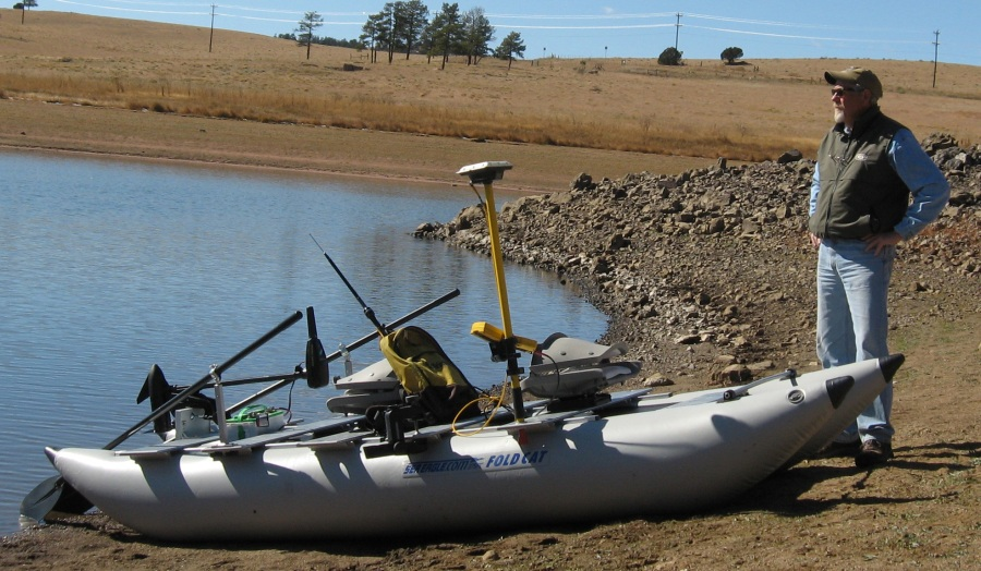 Dan surveys bodies of water all over Colorado but it's rare to find a reservoir with a boat ramp. So he chose a FoldCat that doesn't require one.
