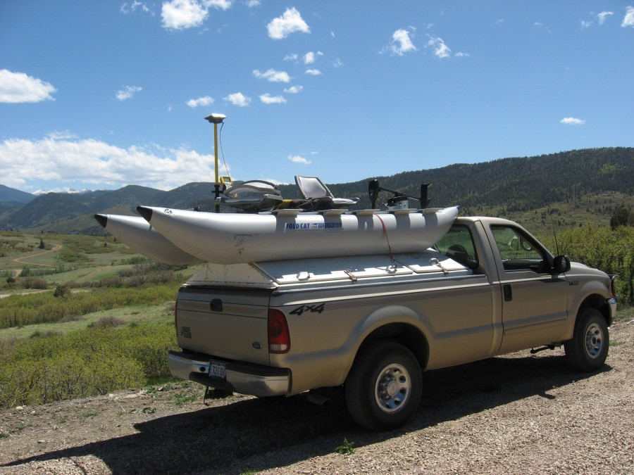 """We had a string  four very small reservoirs about a quarter mile apart each,"" says Dan. ""We inflated the FoldCat for the first pond then just put it on the back of the truck instead of carrying it."""