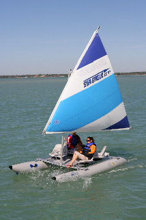 Our Sea Eagle SailCat sailing without a solar panel
