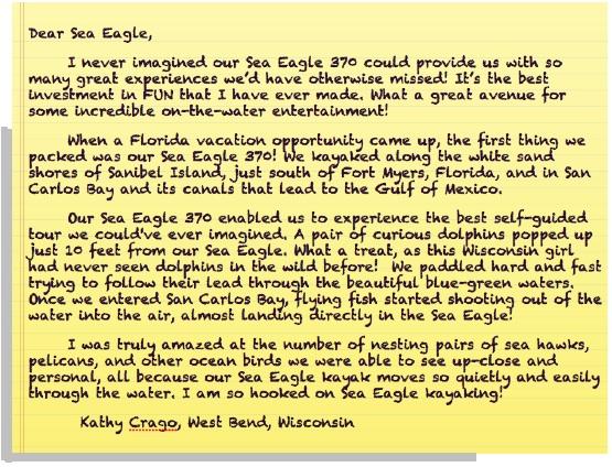 Kathy's hooked on Sea Eagle Kayaking