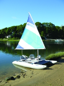 This is my Sea Eagle SailCat with a solar panel attached at the bow.