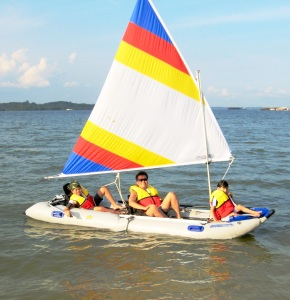 You'll often find the Boey family and their Sea Eagle PaddleSki in the waters around Singapore
