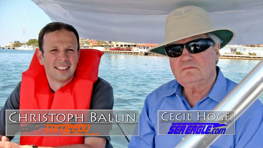 Sea Eagle President Cecil Hoge with Christoph Ballin of Torqeedo