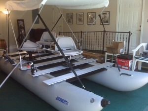 A careful consumer, Jay test-assembled his FoldCat 440fc in his dad's converted garage before taking it out on the water. This practice run speeded up on-site assembly by 50%.
