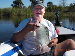 Timothy and Karen Emmons love camping and fishing Florida's lakes in their Sea Eagle 8. Timothy recently caught this handsome tilapia on Webb Lake.