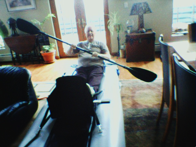 A gadget guy through and through, Joseph set up his PaddleSki in his livingroom when it arrived. (OK, how many of us have done the very same thing?)