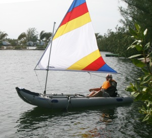 "Joseph rigged his PaddleSki as a sailboat and took it out for a spin. With a motor, ""It almost flies,"" he says."