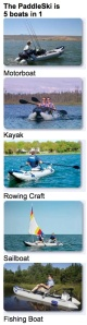 The Paddleski is 5 boats in 1