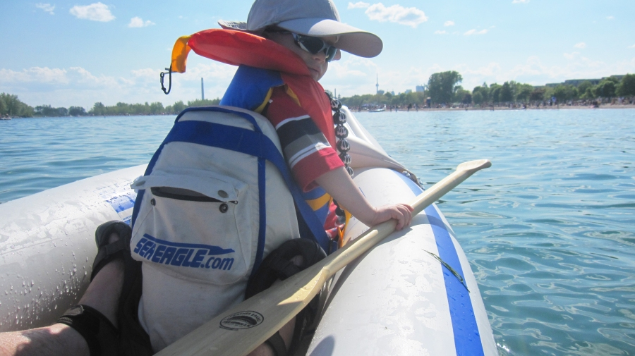 Ben's decked out for fun and safety in his kid-size life jacket
