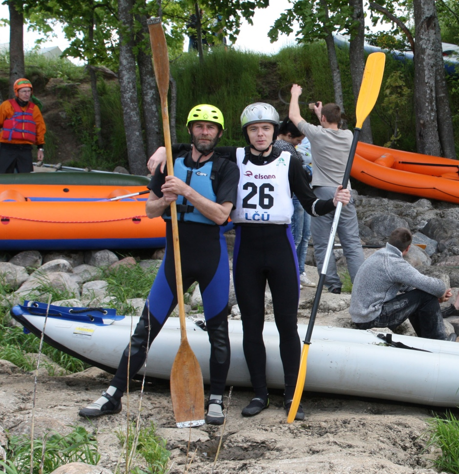 Davis Gersons (father, left) and Gatis Gersons (son) are avid Latvian kayakers in their Sea Eagle 380x Explorer Kayak.
