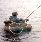 Float tube fishing is a bit cramped