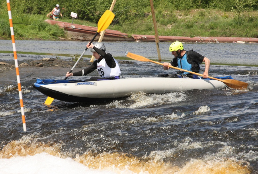"""Gatis writes, """"This is me and my dad, taken during one of the rounds in the Latvian Water Tourism Championships in the river Aiviekste."""""""
