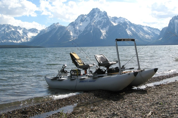 Nick readies for a day of fishing adventures with his Sea Eagle FoldCat. In the background -- the breathtaking Grand Tetons.