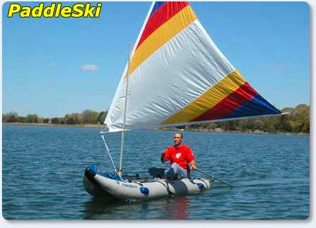 Here's the PaddleSki set up as a sailing craft near our headquarters in Port Jefferson, Long Island, New York.