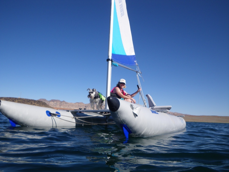 """Now, I don't recommend teaching your wife to sail when she's in the boat and you're in the water in the middle of the lake and the wind comes up and carries her a couple hundred yards away,"" Jim Hansen told us recently. The good news is, ""The SailCat is so easy to sail, she figured it out right away."""
