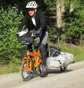 "Gary carries his BOAT on his BIKE. ""Touring across Sweden with the ultimate setup – Birdy Bike, Oxtail trailer and Sea eagle FastTrack 465 in tow. It's easy to pack this bike-and-boat combination and it's comfortable to ride."""