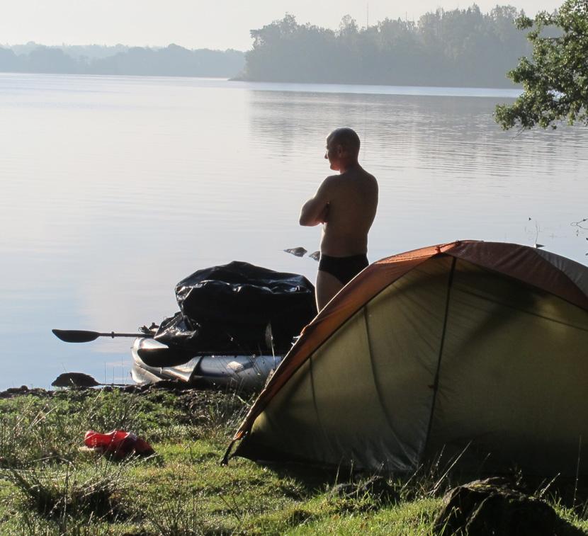 Gary enjoying a Scandinavian sunrise overlooking his Sea Eagle FastTrack 465 on the northwest shore of Lake Asnen, Smaland Sweden