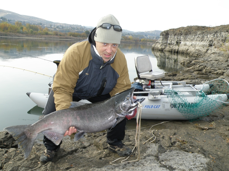 One of George's fishing buddies, Scott Morgan, was skeptical about George's FoldCat until he reeled in his first Chinook salmon – a 38-inch beauty. Now he can't wait to go out in the FoldCat again.