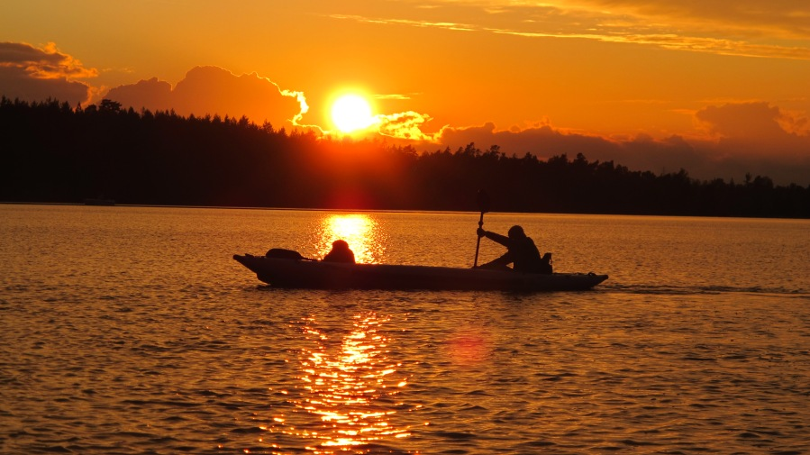 It doesn't get any better than this -- a beautiful sunset and a great adventure in a Sea Eagle FastTrack.