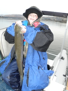 George's 11-year old son, Zain, snagged his first steelhead – all 32-inches – with his dad on a recent fishing trip to Prineville Lake, nestled near the headwaters of the Crooked River in the Ochoco Mountains.