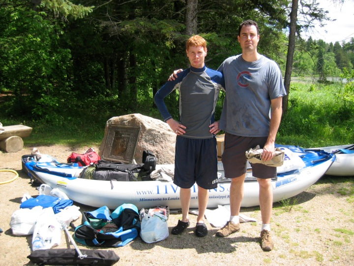 Business-and-adventure partners Phillip (left) and Ryan (right) at the Mississippi River headwaters in Lake Itasca, Minnesota about to embark on a 2,300 mile journey in Sea Eagle kayaks.