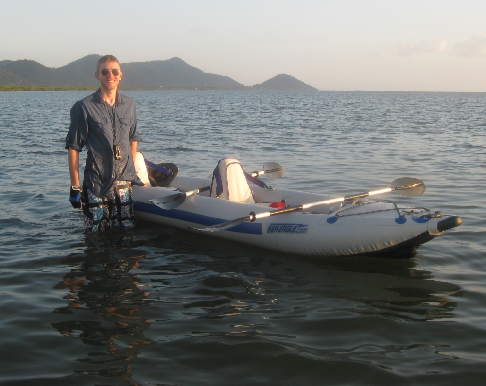 Tim readies to kayak near  Koh Karang in southern Cambodia. Like many adventurers, he learned kayaking by doing.