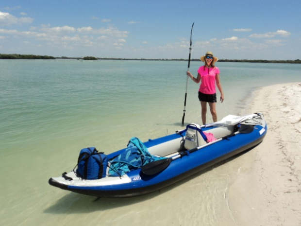 Just another day in paradise — Julie Olson and her Sea Eagle Explorer Kayak on the white sand beaches near St. Petersburg, Florida.