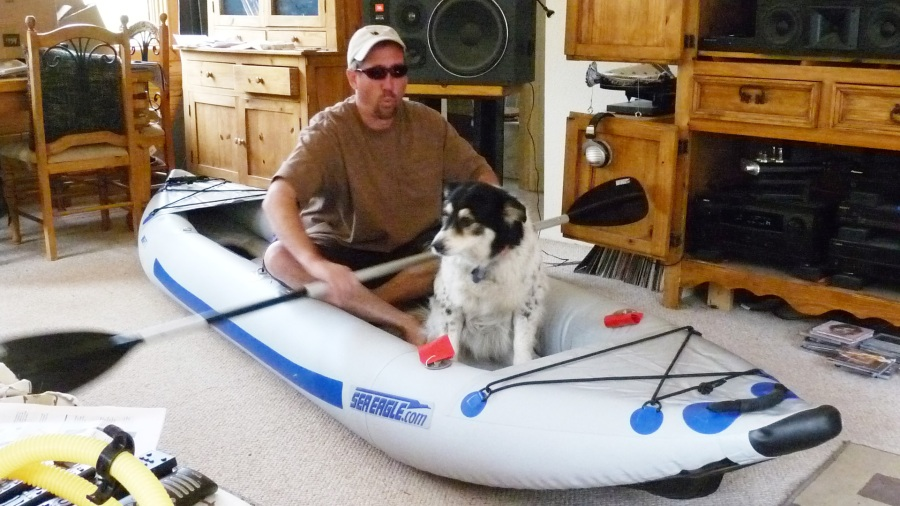 Steve & Meeker took their FastTrack for a dry run in their living room. Many Sea Eagle owners do the same. How about you? Have photos?