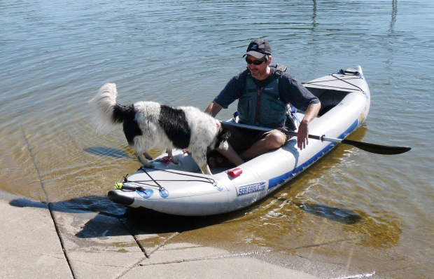 "Steve's dog, Meeker, takes eagerly to boating. A testament to toughness, the Sea Eagle Explorer's high-pressure fabric is like ""crocodile hide"" - dog toenails don't phase it."
