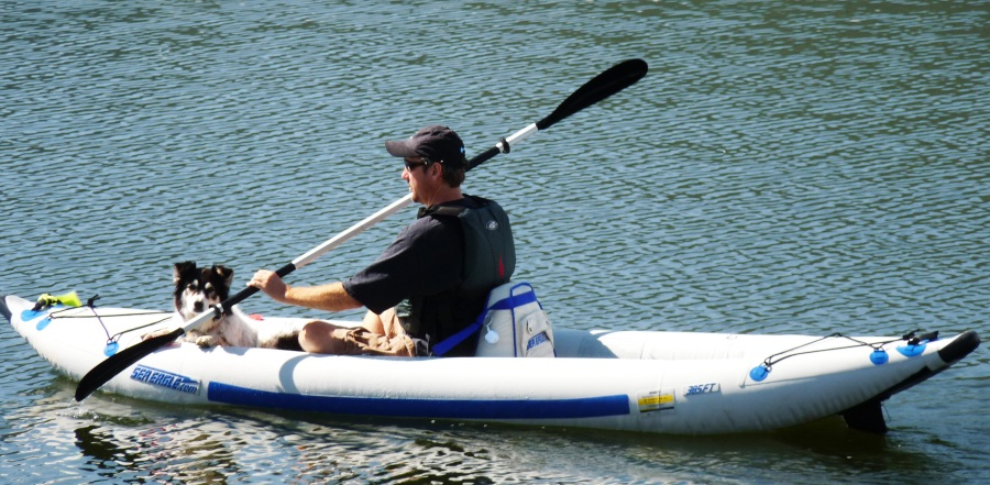 Steve Brauns and his constant companion, Meeker, ply the waterways of Colorado in their Sea Eagle Explorer Kayak.