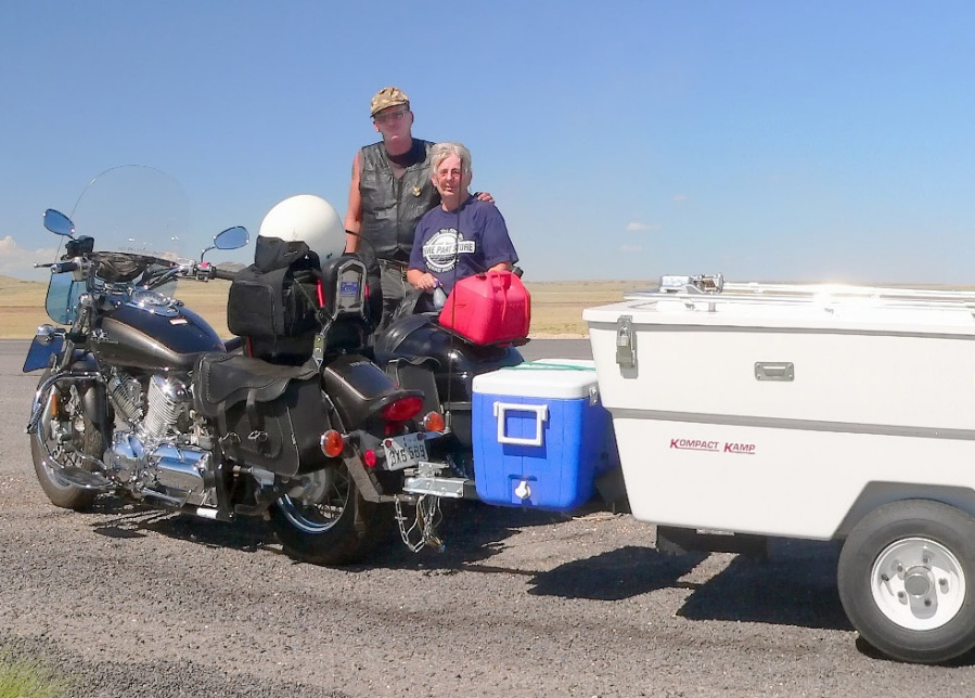 Henry and June are regular road warriors, ready for anything with their motorcycle and trailer -- plenty of room to pack their Sea Eagle 370.