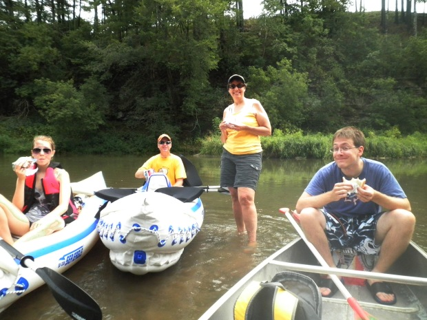 Mike and Ellen's two sons met the rest of the Mattes family in Minnesota. They rented canoes locally while the others took to their Sea Eagle Sport Kayaks. Mary's in her 330; Mike and Ellen are in their 370; oldest son, Corey, is in the canoe while his younger brother snaps the photo.