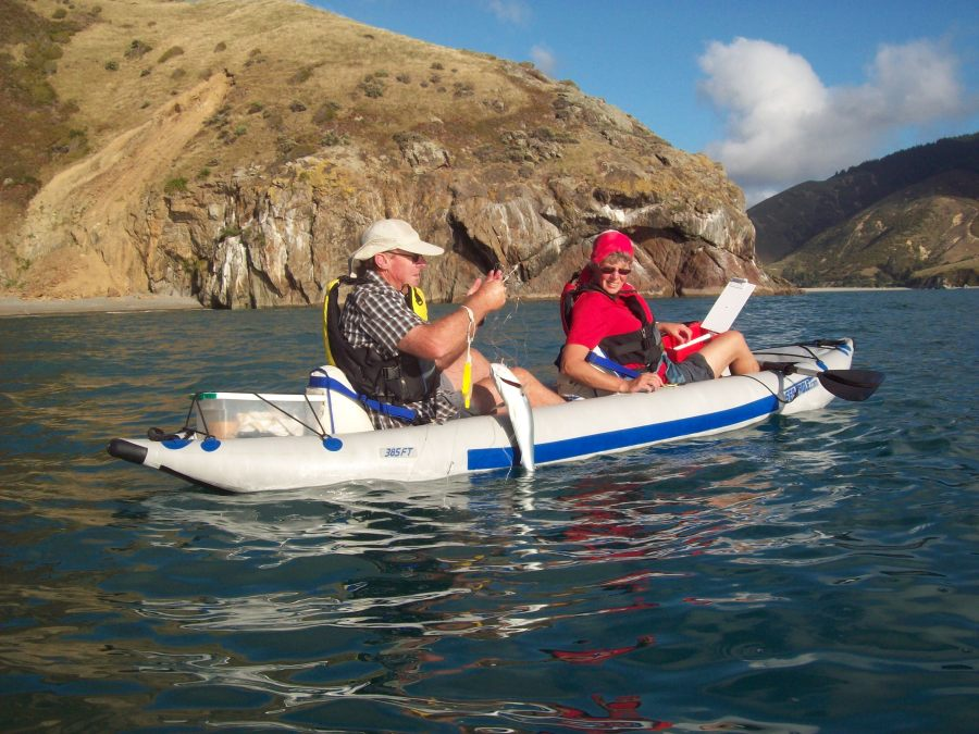 Ken and Alison love fishing in Cable Bay, New Zealand, in their Sea Eagle 385 FastTrack.. Ken's landed a Kahawai on a set line. Alison says the Kahawai are great when smoked.