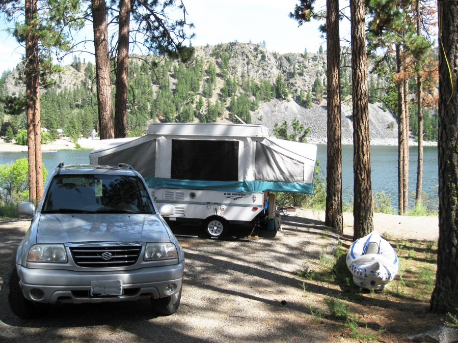 Could it get any better than this? SUV, pop up camper, and Sea Eagle inflatable boat at the Leal's beautiful campsite at Washington's Alta Lake.