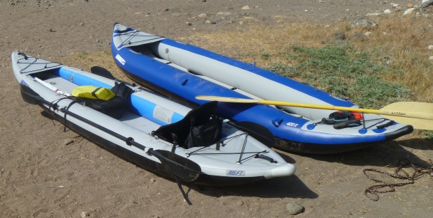 Which would you choose? The faster FastTrack (left) like the one Glen owns? Or the roomier Explorer Kayak (right) his friend owns?