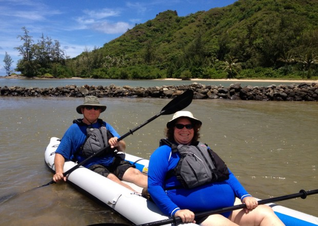 Nancy and Andrew Morgan have kayaked in and around Oahau,  their home island, for years. Here they explore Oahau's Kahana Bay in their FastTrack.