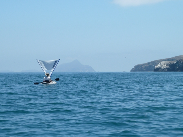 Glen enjoyed paddling upwind then catching the wind in his QuickSail for a free ride downwind.