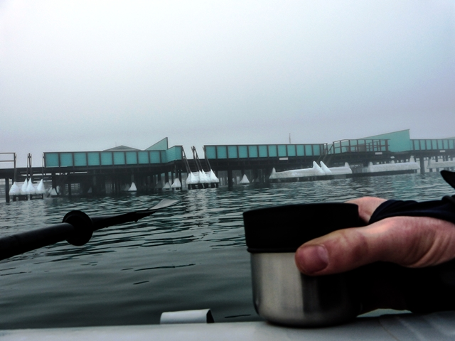 """All alone on the water,"" said Lasse, I stopped in front of a place called Helgoland to enjoy some cool mint tea."" There's a great winter swimming club here that I often visit."""