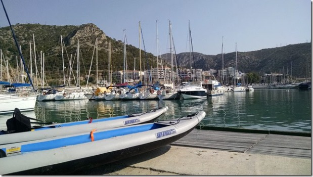 "Bill and Ellen Domb got ready for adventure on the docks at Garraf Harbor in Spain's Costa Brava, the ""Rugged Coast."" Bill tells us, ""We went north along the cliffs"""