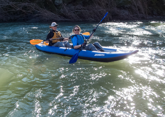 In flat water, David and Elizabeth enjoy a peaceful, meditative trip down the nearby Russian River in David's 380x.