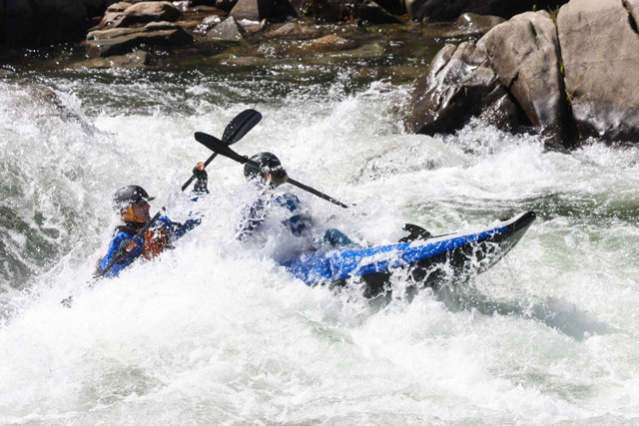 "David says the Russian River is one of America's finest whitewater rivers. He and his partner, Elizabeth, brave Class III rapids in the section known as ""Troublemaker"" in the Sea Eagle 380x."
